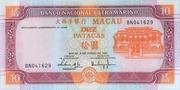 10 Patacas (Banco Nacional Ultramarino; cyan) – obverse