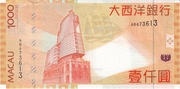 1000 Patacas (Banco Nacional Ultramarino) – reverse