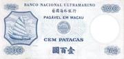 100 Patacas (Banco Nacional Ultramarino) – reverse