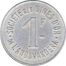 1 Franc (Société des Mines d'Or de l'Andavakoëra) – reverse