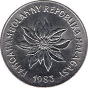 5 Francs / 1 Ariary – obverse