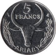 5 Francs / 1 Ariary – reverse