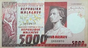 5000 Francs 1000 Ariary – obverse