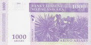 1000 Ariary / 5000 Francs 2004 – reverse