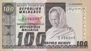 100 Francs / 20 Ariary – obverse