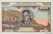 """1000 Francs / 200 Ariary (""""Tsiranana"""") – obverse"""