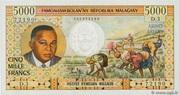 """5000 Francs / 1000 Ariary """"Tsiranana"""" type 1966 – obverse"""