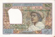 50 francs / 10 Ariary – obverse