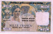 1000 Francs / 200 Ariary 1964 – obverse