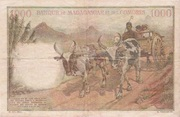 1000 Francs / 200 Ariary – reverse
