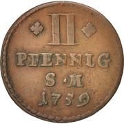 2 Pfennig - Johann Friedrich Karl – reverse