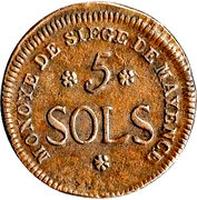 5 Sols - Friedrich Karl Joseph (Mainz Siege Coinage) – reverse