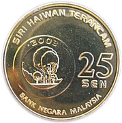 25 Sen - Agong XII (Sumatran Rhino) – reverse