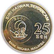 25 Sen - Agong XII (Slow Loris Lemur) – reverse