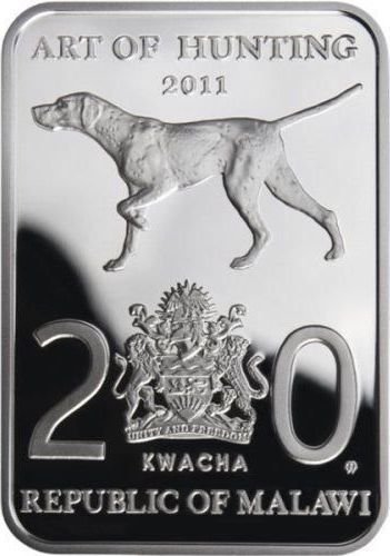 DUCK HUNTING Silver Proof bar shaped Coin 2011 Malawi 20 Kwacha Art of Hunting