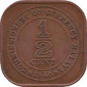 ½ Cent - George VI – reverse