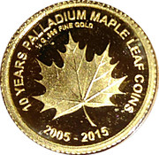 100 Francs (10 Years Palladium Maple Leaf) – reverse