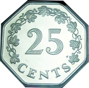 25 Cents (1st Anniversary of Republic - Set Issue) – reverse