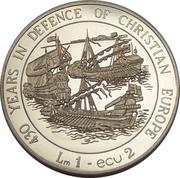 1 Lira / 2 Ecu (430 Years of Defense of Christianity) – reverse