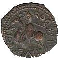 Copper Trifollaro of Roger I (MARIA MATER DNI) – reverse