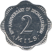 2 Mils (10th Anniversary of Decimalization) – reverse