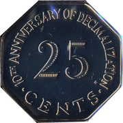 25 Cents (Decimalization) – reverse