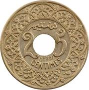 "25 Centimes - Yusuf (Essai; with ""Essai"" below hole) -  reverse"