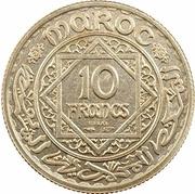 """10 Francs - Mohamed V (Essai; with """"Essai"""") – reverse"""