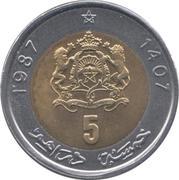 5 Dirhams - Hassan II -  reverse