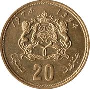 20 Santimat / Centimes - Hassan II (2nd portrait) -  reverse