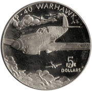 5 Dollars (P-40 Warhawk of Flying Tigers) – reverse