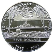 5 Dollars (To the Heroes of Guadalcanal) – reverse