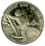 5 Dollars (20th Anniversary - First Men on the Moon) – reverse
