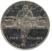5 Dollars (To the Heroes of D-Day - Normandy Invasion) – reverse