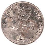 5 dollars (Peace - VJ Day) – reverse