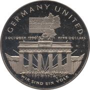 5 Dollars (German Unification) – reverse
