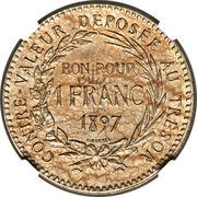 1 Franc (Piedfort with Essai) – reverse