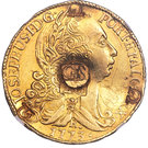 66 Shillings - Countermark on contemporary counterfeit Brazil Joao I gold 6400 Reis 1773-R – obverse