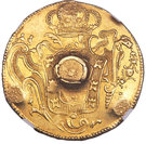 66 Shillings - Countermark on contemporary counterfeit Brazil Joao I gold 6400 Reis 1773-R – reverse