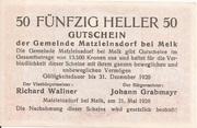 50 Heller (Matzleinsdorf) – reverse
