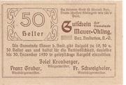 50 Heller (Mauer-Öhling) – reverse