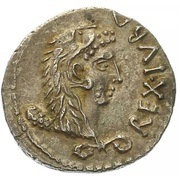 Denarius - Juba II (Lion headdress; Capricorn) -  obverse