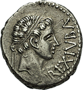 Denarius - Juba II (eagle on a thunderbolt with laurel wreath) – obverse