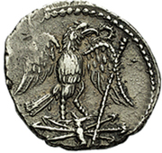 Denarius - Juba II (eagle on a thunderbolt with laurel wreath) – reverse