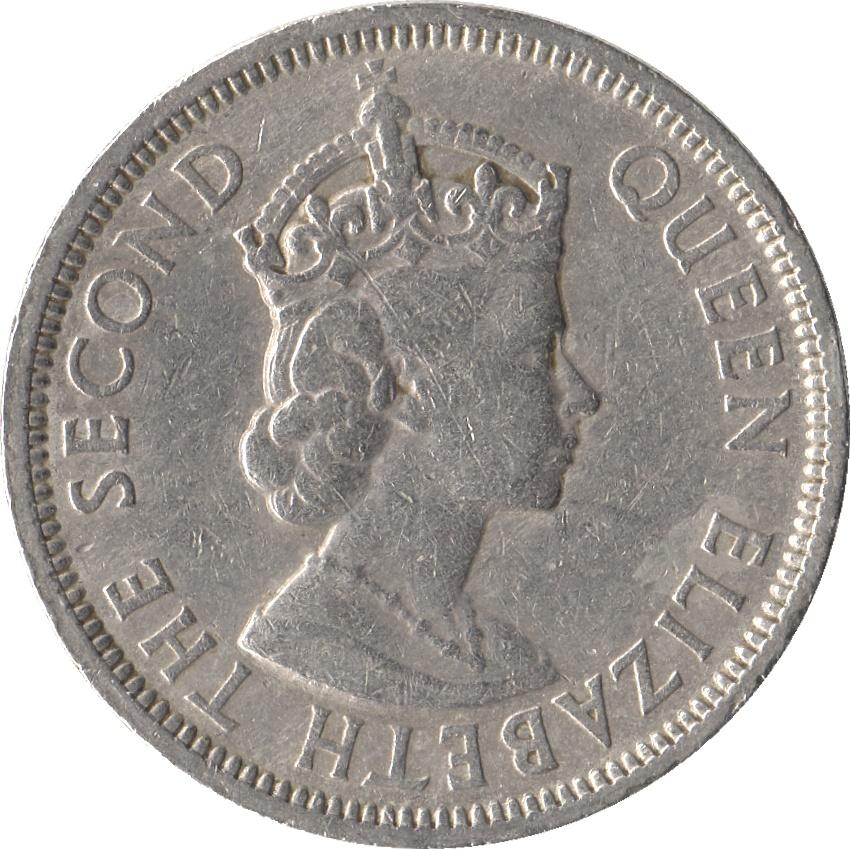 1 Rupee Elizabeth Ii 1st Portrait Mauritius Numista