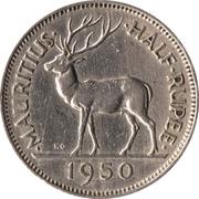 ½ Rupee - George VI – reverse