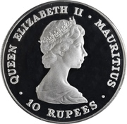 10 Rupees - Elizabeth II (Royal Wedding; Silver Proof Issue) – obverse