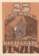 25 Pfennig (Penzlin) – obverse