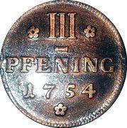 3 Pfenninge - Christian Ludwig II – reverse