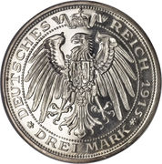 3 Mark - Friedrich Franz IV. – reverse